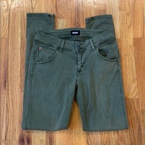 Hudson army green mid rise skinny dress size 27